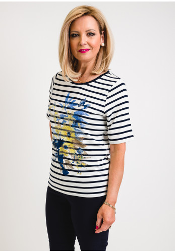 Rabe Diamante Floral and Stripe T-Shirt, Navy and Blue