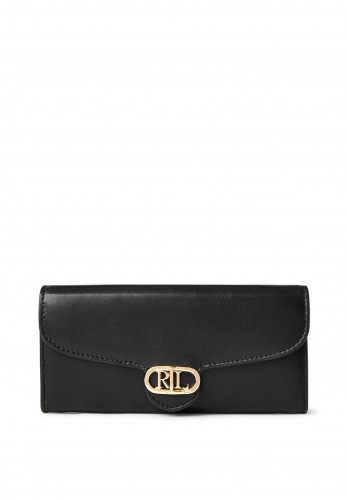 Ralph Lauren Logo Flap Wallet, Black