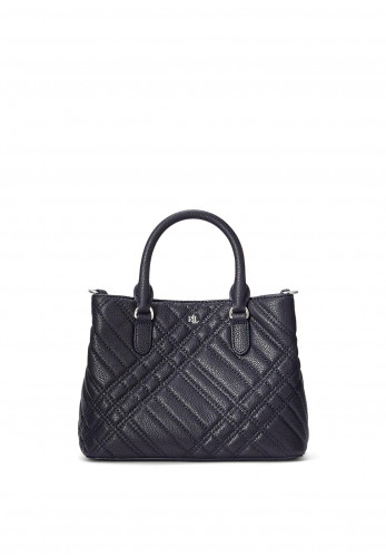 Ralph Lauren Marcy Small Quilted Satchel Bag, Navy