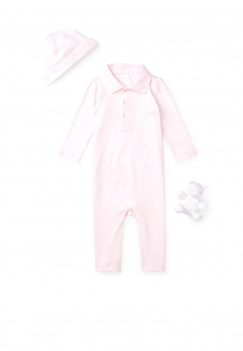 Ralph Lauren Baby Girl Coverall Hat and Bear Set, Pink