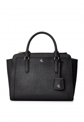 Ralph Lauren Brooke Medium Leather Satchel Bag, Black