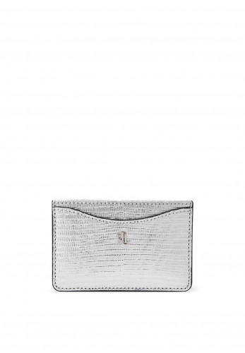 Ralph Lauren Slim Leather Card Case, Silver