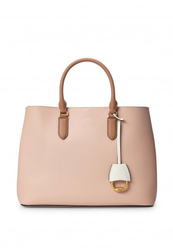 Ralph Lauren Marcy Large Leather Satchel Bag, Pink & Nude