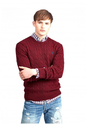 Ralph Lauren Cable Knit Crew Neck Sweater, Red