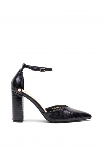 Rant & Rave Darcy Block High Heel Ankle Strap Shoes, Midnight Blue