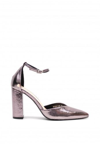 Rant & Rave Darcy Block High Heel Ankle Strap Shoes, Pewter