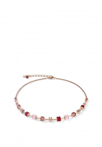 Coeur De Lion Geo Cube Necklace, Pink, Red & Rose Gold
