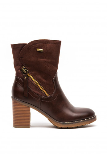 Redz Faux Leather and Suede Chucky Block Heel Boots, Brown