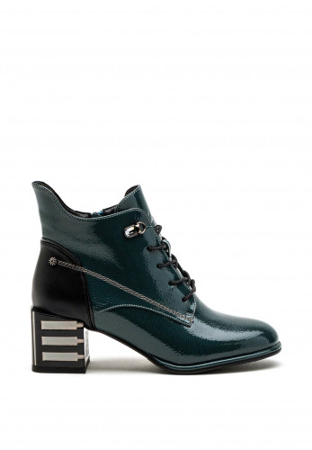 Redz Patent Decorative Heel Lace Up Ankle Boot, Teal Multi