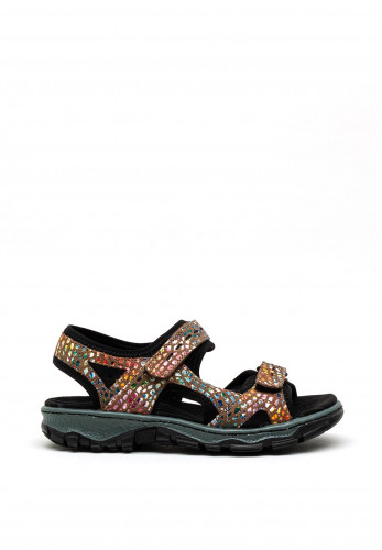 Rieker Printed Velcro Strap Sandals, Brown