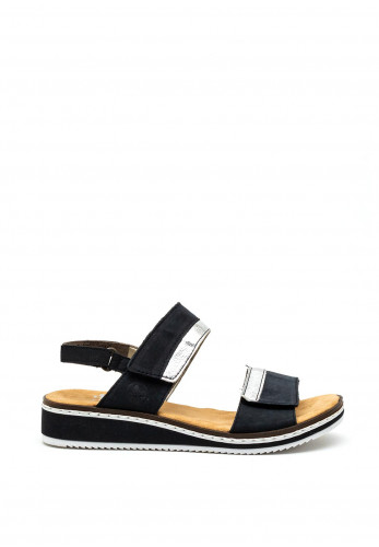 Rieker Womens Leather Velcro Strap Sandals, Navy