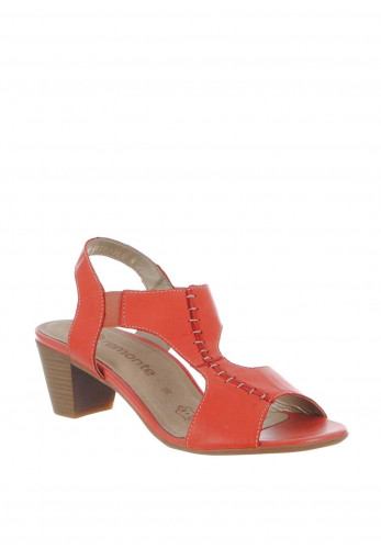 Remonte Womens Leather Block Heel Sandals, Coral