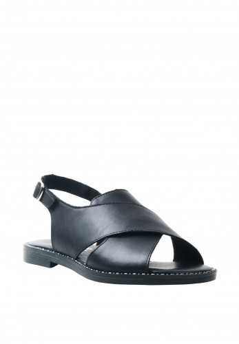 Remonte Womens Leather Velcro Crossover Sandals, Black