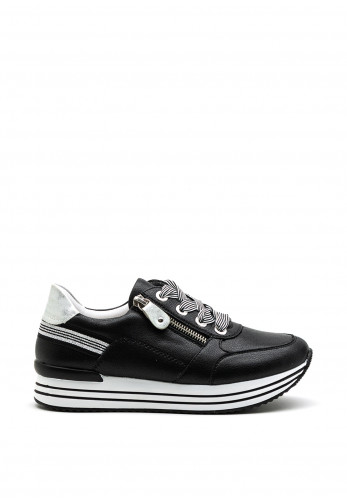 Remonte Leather Striped Lace Trainers, Black