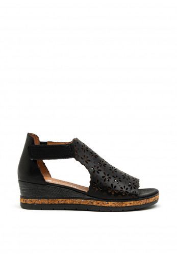 Remonte Leather Velcro Strap Sandals, Black