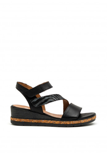 Remonte Womens Leather Velcro Wedged Sandals, Black