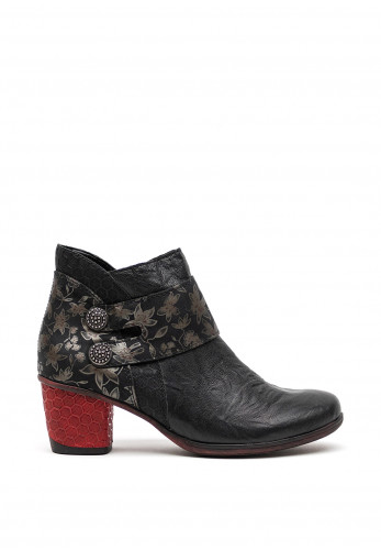 Remonte Leather Floral Print Detail Boots, Black