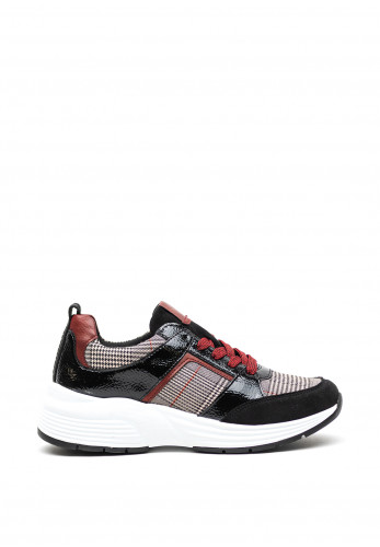 Remonte Checked Panels Wedged Trainers, Black Multi