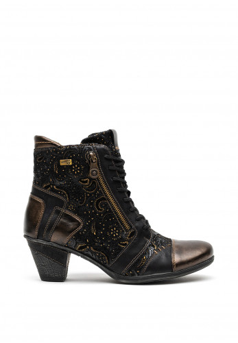 Remonte Leather Paisley Printed Lace Up Boots, Black