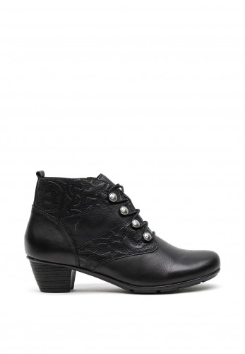 Remonte Leather Textured Panel Ankle Boots, Black