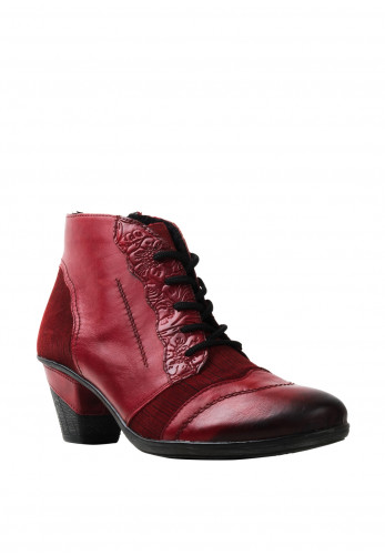 Remonte Leather Lace Up Boots, Red