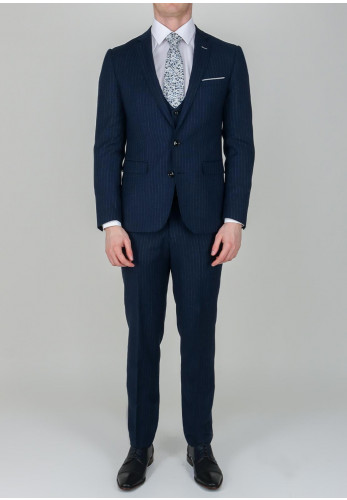 Remus Uomo Navy Pinstripe Print 3-Piece Suit, Slim Fit