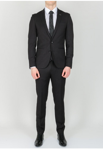 Remus Uomo Self Pattern 3-Piece Suit, Dark Grey