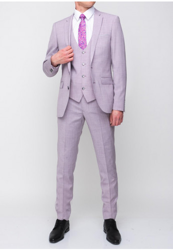 Remus Uomo Lazio Wool Blend Stretch Three Piece Suit, Lilac