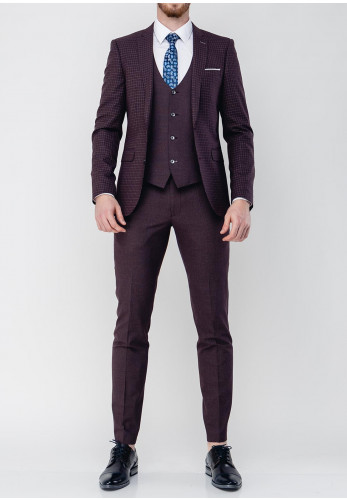 Remus Uomo Lazio Wool Blend Stretch Three Piece Suit, Burgundy
