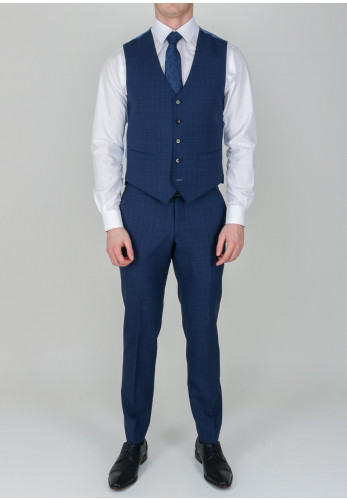 Remus Uomo Mini Tartan Print Navy Blue Trousers, Tapered Fit