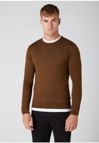 Remus Uomo Knitted Crew Neck Sweater, Brown