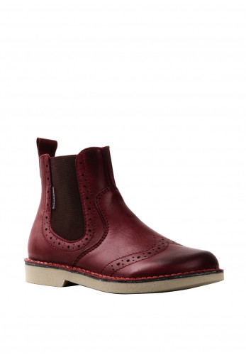 Ricosta Girls Dallas Brogue Stitch Leather Chelsea Boots, Wine