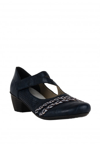 Rieker Womens Perforated Comfort Velcro Strap Shoes, Navy