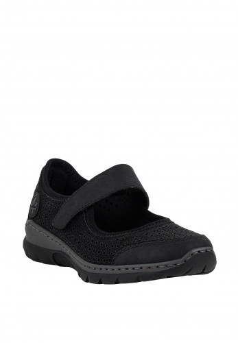 Rieker Womens MemoSoft Velcro Strap Shoes, Black