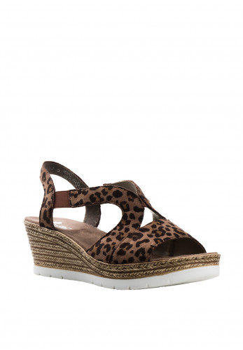 Rieker Leopard Print Wedged Sandals, Brown Multi