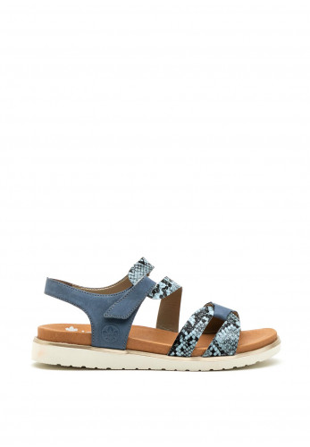 Rieker Womens Leather Reptile Sandals, Blue