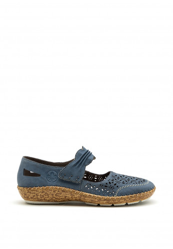 Rieker Womens Perforated Velcro Stap Shoe, Blue