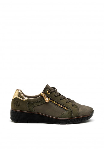 Rieker Womens Low Wedge Zip and Lace Shoes, Khaki Green