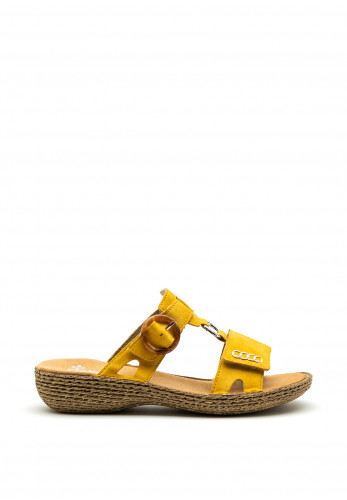 Rieker Womens Velcro Strap Slip on Sandals, Yellow