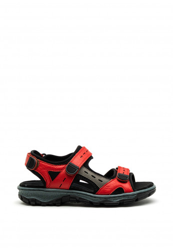 Rieker Womens Leather Velcro Strap Sandals, Red