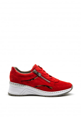 Rieker Womens Retro Red Suede Wedge Trainer, Red