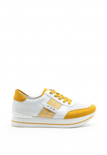 Rieker Womens Faux Leather Lace Up Trainers, Yellow