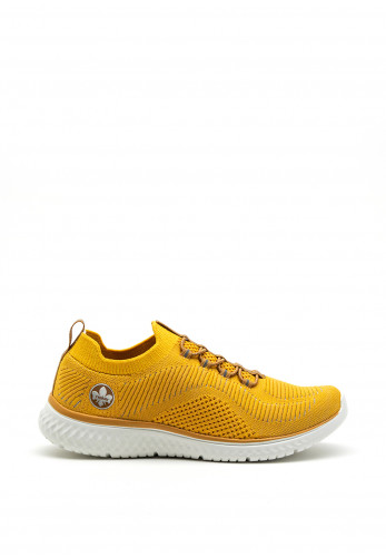 Rieker Womens Memosoft Slip on Knit Trainers, Yellow