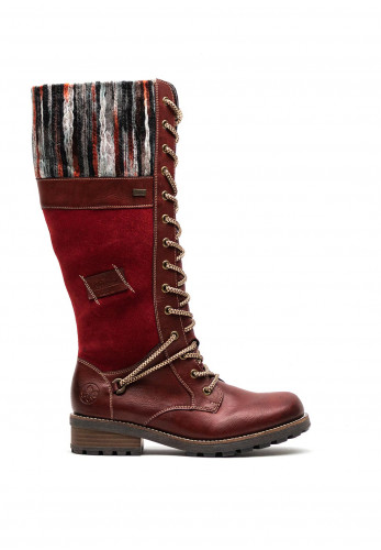 Rieker Womens Knitted Cuff Long Boots, Red