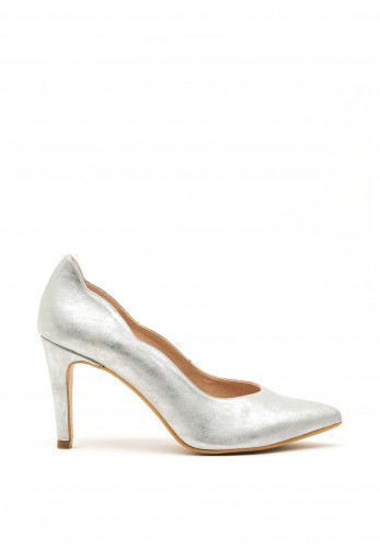 Pomares Shimmer Court Shoes, Silver