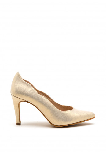Pomares Scallop Edging Court Shoe, Gold Shimmer