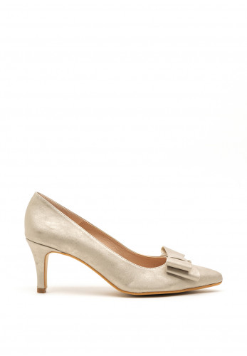 Pomares Metallic Bow Low Heel Court Shoes, Gold
