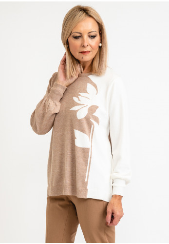 Scorzzo Floral Abstract Sweater, Beige Multi