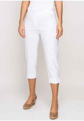 Robell Marie 07 Stretch Crop Trousers, White