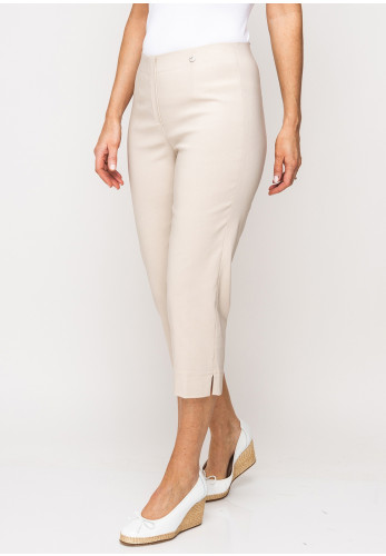 Robell Marie 07 Stretch Crop Trousers, Beige